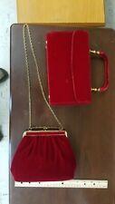 Set Of Vintage Red Velvet Women'S Purses