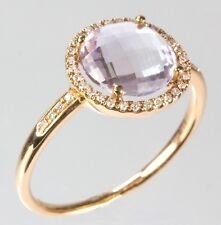 Pink Amethyst Ring with Diamond in 14k Rose Gold ( D 0.09, AM 2.20)