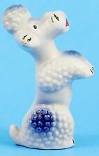 Vintage French Poodle Dog Figurine, Japan, Blue & White Mid Century