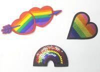 Rainbow Heart, Sequin Rainbow LGBT Gay Lesbian Pride Queer Patch Applique