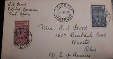 O) 1937 CAMEROUN, TAPPING RUBBER TREE SC 193 - SC 194, FROM LOLODORF, TO OHIO,
