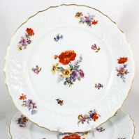 FAB SET 2 SALAD PLATES FRAUREUTH CHINA 35450 DRESDEN FLOWERS EMBOSSED GOLD WHITE