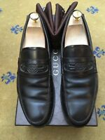 Gucci Mens Shoes Brown Leather Embossed Horsebit Loafers UK 9.5 US 10.5 EU 43.5
