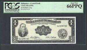 Philippines One Peso ND(1949) P133g Gem New Grade 66