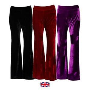Women's Velvet Flared Trousers: Festival Party Rave Flares UK Red Black Purple