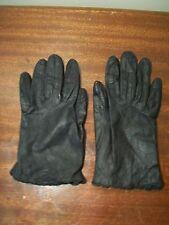 Vintage Black Leather kid gloves scalloped edge