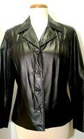 Preston and York Black Leather Jacket / Blazer - Sz Petite Small -Button Closure