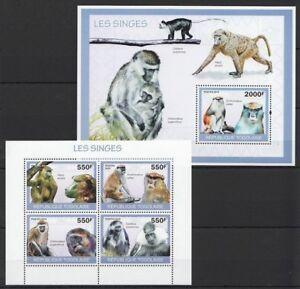 Togo 2010 MNH MS+SS, Monkeys, Wild Animals