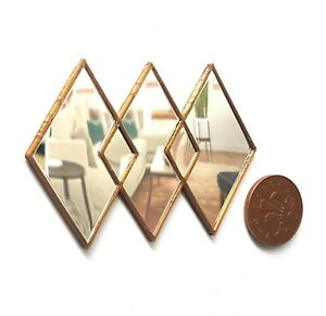 Dolls House 1/12 scale gold effect Art Deco Mirror Lovingly Made by BUSHBABY