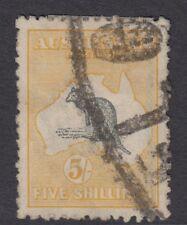 More details for australia kangaroo series :1918 5/- grey and yellow  die ii sg42 used