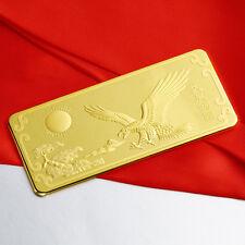 Solid 9999 24K Yellow Gold Bullion Bar Lucky Eagle With Sun 大展宏图 Bullion Bar 5g