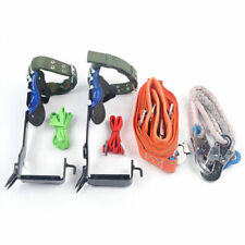Tree Climbing Spike Set Safety Belt Straps Lanyard Rope Rescue Belt 2 Gears Hook