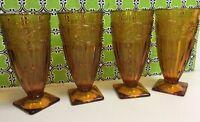 "Set Of 4 Vintage Amber Glass Ice Tea or Ice Cream Soda Glasses, 6.5"" Tall"