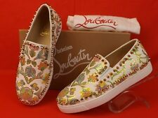 NIB LOUBOUTIN PIK BOAT WHITE FLORAL PYTHON LEATHER SPIKES SNEAKERS SKATER 39