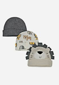 Gerber Baby Boy 3-Pack Organic Cotton Lion Caps Size Newborn (0-3 months) NEW!