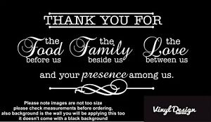 Thank you for food, family, love vinyl wall art quote, bedroom/living room walls