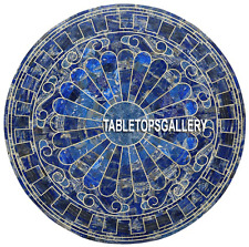 30'' Blue Marble Round Kitchen Corner Top Inlaid Table Lapis Mosaic Decor H3883A