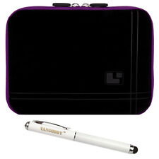 "8"" Black/Purple Tablet Carry Sleeve Case Cover for iPad Mini 4 / HP Pro 8+Stylus"