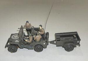 Vintage Built Bandai 1/48 U.S. Willys Jeep w/Trailer & Figures Military Model
