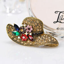 New Vintage Crystal Wedding Gentle Lady Women Rhinestone Sunhat Brooch Pin 011