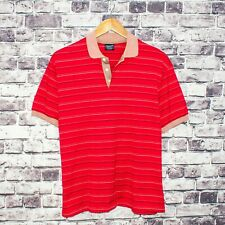 GANT the Rugger Men's Short Sleeve Polo Shirt Red Striped Size Large USA Made
