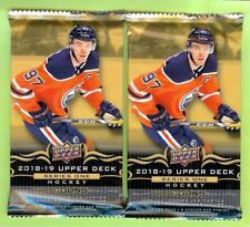 (2) 2018-19 UPPER DECK SERIES 1 HOCKEY RETAIL RELIC, PATCH OR AUTO HOT PACK