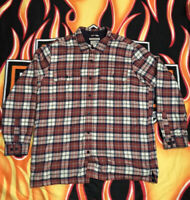 Men's LL Bean Heavy Plaid Flannel Shirt Long Sleeve Button Front Fur In Size XL