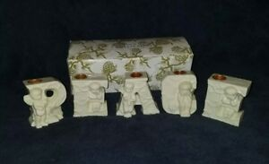 """Candle Holders (5 pieces) Christmas """"PEACE"""" Nice Display VTG Cute Cherubs NOS"""