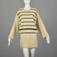 M Sonia Rykiel Cream Sweater 1980s Knit Striped Tunic Layered Mini Dress 80s VTG