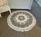 Exc Cond Vintage Wool Round Rug Shabby Chic Floral Hand Knotted Cream And Blue