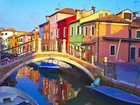 Photography Cityscape Venice Italy Burano Bridge Canal Canvas Art Print
