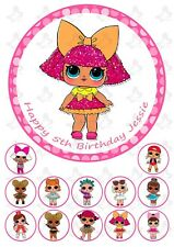 LOL Dolls Edible Round Cake Topper Image PERSONALISED + 12 cupcake Toppers  V2