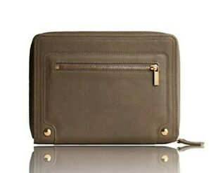 New leather agenda planner taupe w/zip closure weekly monthly perpetual calendar