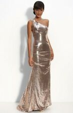 Nicole Miller Sequin Rose Gold One Shoulder Dress Short 4