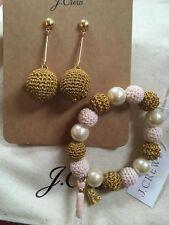 J Crew Glint Of Gold Jewelry Set Big Bar Earrings Pink& Gold Stretch Bracelet !!