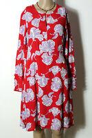 YAS Kleid Gr. S rot knielang Chiffon Kleid mit großen lila-weißen Blumen