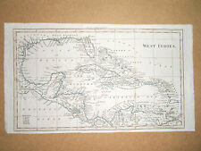 WEST INDIES RARE OLD ANTIQUE MAP BY W.DARTON-WALKERS GEOGRAPHY DATE 1817 20x35cm
