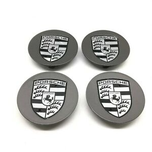 Set Of Genuine Porsche 997 Turbo II Alloy Wheel Crested Centre Caps