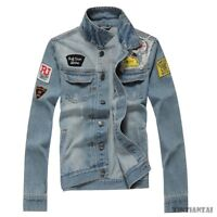 Jeans Jacket New Men's Vintage Fashion motorcycle Coat Outwear Slim Fit cool