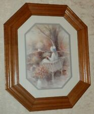 Vtg Homco Home Interiors Picture Girl Wearing Bonnet on Patio Flowers Octagon