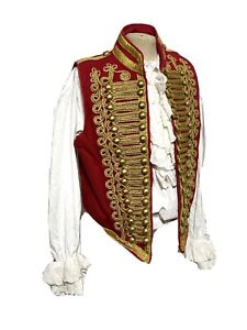 "2 Pcs Red Hussar Waistcoat & Elaborate Cotton Ruffle Pirate To Fit ""40"""