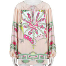 Emilio Pucci Luxurious Pale Pink Lace Detailed Silk Tunic Top IT40 UK8