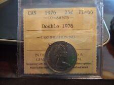 CANADA 25 CENTS 1976 DOUBLE DATE, DOUBLE 1976, ICCS PL-66 !!!!!!