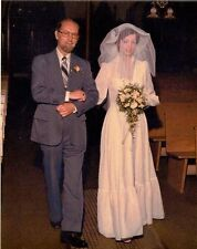 Old Vintage Photograph Wedding Bride and Dad Walking Down The Aisle in Church