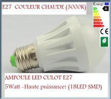 EXCLU ! LOT DE 4 AMPOULES E27 à LED HAUTE PUISSANCE SMD BLANC CHAUD 3000K 18 LED