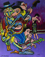"THE MUSICIANS"" MODERN ABSTRACT HIPPIE POP FOLK ART SIGNED JOE GOMEZ OIL PAINTING"