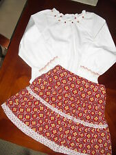 Janie Jack HOMESPUN STYLE corduory skirt top outfit set 4t 4 po EUC red white