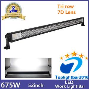 52'' 675W LED Tri row Combo Light Bar 7D Lens Toyota Boat Waterproof Ford 300W