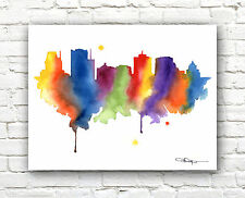 Montreal Skyline Abstract Watercolor Painting Art Print by Artist DJ Rogers