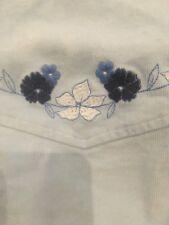 Girls EUC Light Blue Courduroy ABERCROMBIE Embroidered Western Long Sleeve Shirt